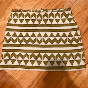 Zara Tribal Print Skirt (Gold/White), Size Small